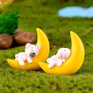Animal bonito que dorme na lua Decor Miniatura Coelho do cão do urso Cat Figurine Pendant Craft Planta de vaso Bonsai Cacti Acessório DIY Fairy Garden