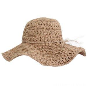 Women Summer Fitness Equipments Fitness Suppliess Sun Beach Panama Straw Hat Wide Wave Brim Folded Outdoor Caps Leisure Holiday Raffia Cap V