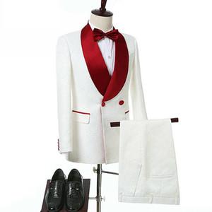 Formal weiße gedruckte Männer Smokings Bräutigam Hochzeitsanzüge roten Schal Revers Best Man Wear Slim Fit Abschlussball-Partei-Blazer-Jacken (Jacket + Pants)