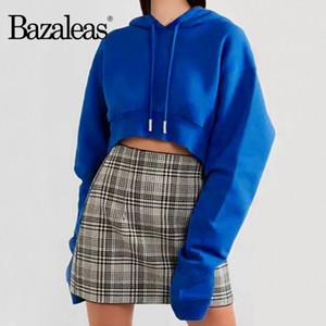 Şapka Moda sweatshirt ile Bazaleas Mavi ekin üst ropa mujer Punk Uzun Kollu Kırpılmış kadın eşofmanı