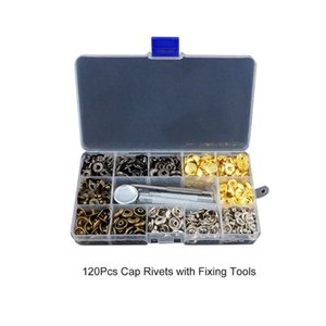 Snap Fasteners Leather Snaps Button Kit Jeans Shoes Press Studs Leather Rivets Single Cap Rivets with Fixing Tools