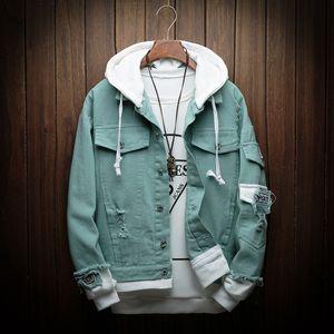 Men Hooded Denim Jackets Jean Coats New Spring Autumn Men Holes Casual Denim Coats And Jackets Loose Jean Jackets Size 4XL CJ191219