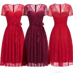 2020 новый бордовый красный полный кружева Homecoming платья V шеи пояс с короткими рукавами дизайнер случаю платья вечернее платье CPS1144