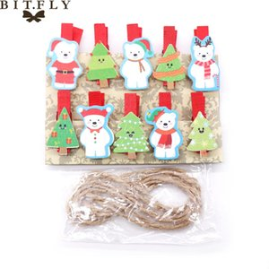BITFLY 10pcs Christmas wood clips New year snack clips Festival party decoration photo Christmas DIY Decoration Supply