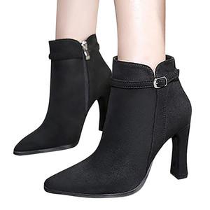 YOUYEDIAN tacones altos cargadores de las mujeres de la hebilla Flock Botas punta estrecha sólido otoño Mujer En tobillo Zapatos Casual carteira