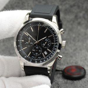 Las ventas calientes Transocean reloj para hombre de los 44MM Negro Dial Con Mundial de Cuarzo Cronógrafo Relojes Excelentes Wrtistwatches