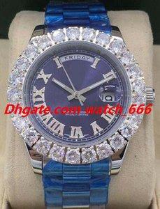 Nova Versão Relógio de luxo 5 Estilo 44 milímetros Masculino Platinum II Diamond Dial Relógios dos homens da forma automática Bigger moldura do diamante numerais romanos de