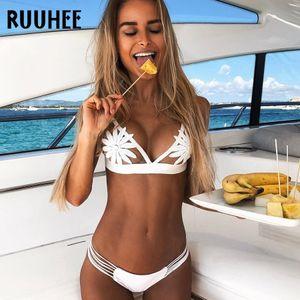 Ruuhee Bademode Frauen Brasilianischer Bikini Set Badeanzug Sexy Chiffon Weibliche Beachwear Gepolsterter Badeanzug Q190513