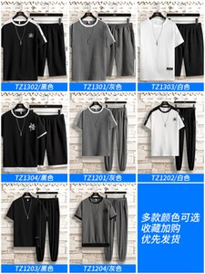 2020 Mens Tracksuit Fashion Designer T-Shirt +Pants 2 Piece Sets Color Brand High Quality Tracksuits men tracksuit sweat suit