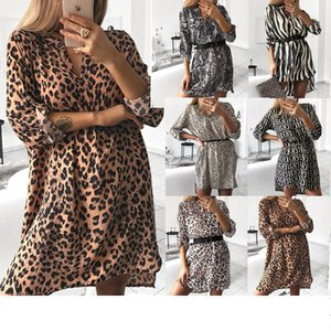 Women's Spring Sexy Leopard Dress Snake Print Striped Long Sleeve V-neck Feminine