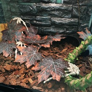 HobbyLane 12 Pcs / Set Pet folhas artificiais Pet Habitat Decor para Spider lagarto Répteis Ferramenta Paisagismo