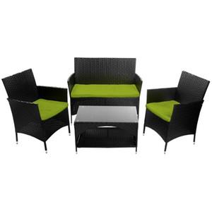 4 PCS Patio Muebles de jardín al aire libre de mimbre del sofá de la conversación, Verde Cojines