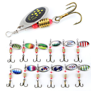 6 centímetros 2,5 g do metal Carp Fishing Lure Vibration Bait Spinner colher Lures Rotating metal Lantejoula Wobbler com Treble Hooks