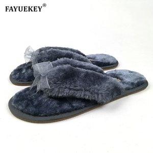 FAYUEKEY 2019 Nouvelle Mode Printemps Maison Coton En Peluche Bowknot Pantoufles Femmes Plancher Tongs Femme Zapatos De Mujer Chaussures Plates