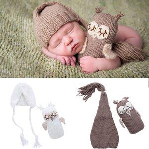 Newborn Baby Girls Boys Photography Prop Baby Hat+ Owl Doll Set Photo Owl Hat Set Crochet Knit Outfits
