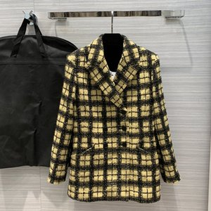 Brand fashion women's high-end luxury vintage check woven three-dimensional long-sleeved blazer coat