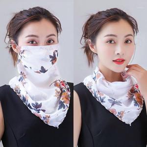 Véu de chiffon impresso pequeno Scarf Mulheres de Verão ao ar livre protetor solar luz máscara respirável Neck Proteção
