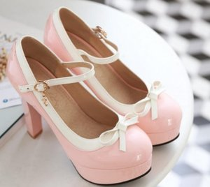 2020 Spring and Autumn with New style fashion High heel Coarse heel round head bowknot waterproof table Women's shoes @MQWBH402