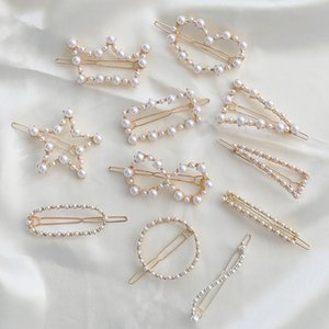 New Vintage Gold Imitation Pearl Hair Clips For Women Fashion Wedding Engagement Gifts Handmade Pearl Geometric HairPin Hair Jewelry