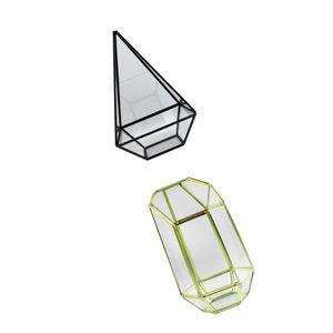 2Pieces verre géométrique Pot de fleurs Terrarium Container Bougeoir Bougie