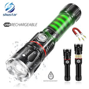 USB Charging High-end LED Surrounding COB lamp + Tail magnet design Support zoom 4 modes Waterproof Torch