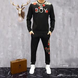 Осенний костюм мужской Trend корейской версии Красивый отдых Спорт Полет орла печати свитер Tide Марка Социальная сеть Red Двухсекционный