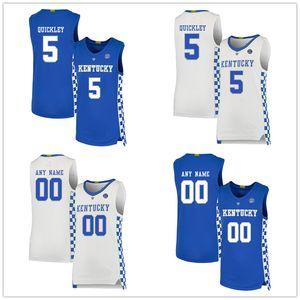 NCAA Custom # 5 Immanuel Quickley Jersey Kentucky Wildcats Basketball Jerseys Branco azul costurado algum nome Seu número personalizado bordado