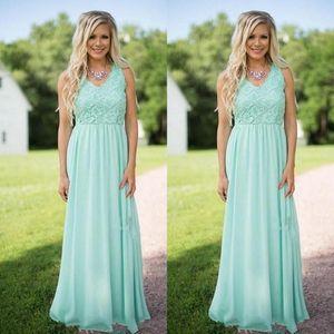 Mint Verde Chiffon Vestidos de Dama de honra V Neck Lace Applique Maid of Honor Vestidos de Festa de Casamento Vestidos BA8258