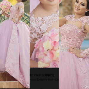 Pink New Ball Gown Girls Pageant Dresses Jewel Neck Lace Appliques Beads Long Sleeves Puffy Flowers Sweep Train Kids Party Birthday Gowns