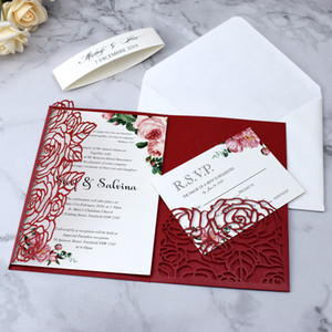 Hot Sale Plum Red Trifold Laser Cut Wedding Invitations Pearl Shimmy Pocket Wedding Invite Flower Quinceanera Invitation Jackets with Belt