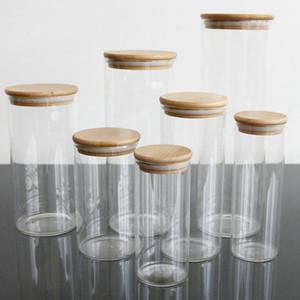 Bamboo tampa transparente de vidro Garrafas Latas Jar Garrafas de armazenamento Rolhas Tampa Jars para a areia Líquido Food Eco amigável vidro IIA172