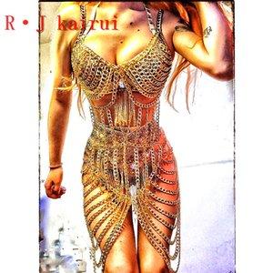 Слои RJkairui New Sexy полые золотые цепочки Bra цепи Уникальный дизайн длинное платье Costume Jewelry 3 цвета