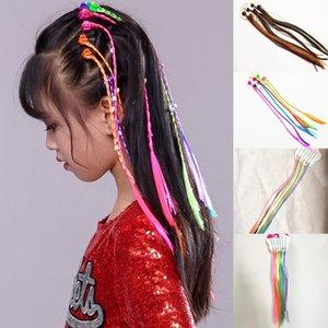 Clipe 1 PC Meninas Multicolor Faixa de Cabelo Elastic Em peruca de cabelo rabo de cavalo sintético Crianças Elástico Braid Rope mantilha