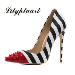Lilyptuart tachonado de los tacones altos de 12 cm de los estiletes de las mujeres del remache de punta estrecha partido de las señoras Bombas superficiales cebra Zapatos mujer de colores 34-44