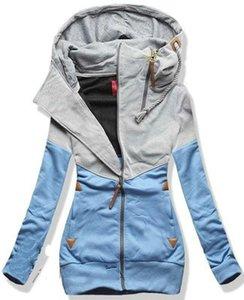 2018 Yeni Kadın Kişilik Çift Zip Hooddies Moda Bayanlar Rahat Colorblock Uzun Kollu Tişörtü Artı Kadife Hoodies