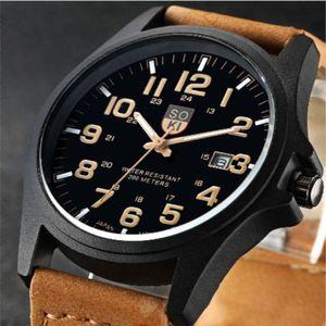 Military Leather Waterproof Date Quartz Analog Army Men's Quartz Wrist Watches Unisex Fashion Watches