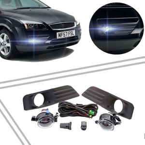 2 piezas rejilla de luz antiniebla + 2 lámparas + kit de interruptor de cable conjunto de luces antiniebla parachoques delantero del coche lámpara antiniebla para Ford Focus MK2 2005 2006 2007