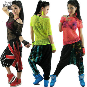 New Fashion Hip Hop Top Dance Female Jazz Costume Performance Wear Stage Clothing Neon Petal Sleeve Sexy Cutout T Shirt