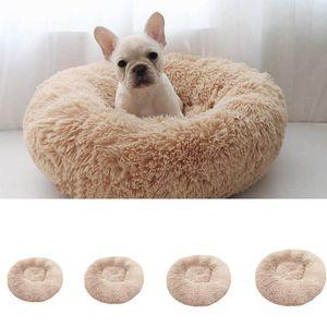 Luxe Shag Fluffy Animaux Lit pour chien / chiot / chaton fourrure Donut Cuddler Coussin doux en peluche ronde Creative Kennel litière pour chats en peluche Pet Nest