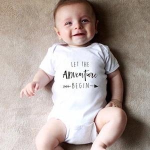 Deixe a aventura começar Bebê Onesie do anúncio da gravidez Onesie Roupa Bebés Meninos Meninas Bodysuit Macacão roupas Outfits