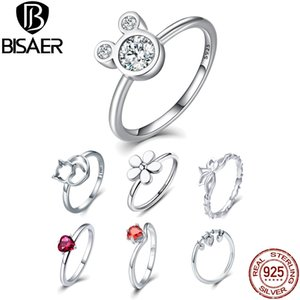BISAER 100% 925 Sterling Silver Rings Dazzling Cartoon Miki Mouse Cat Flower Heart Rings for Women Fashion Jewelry HSR032