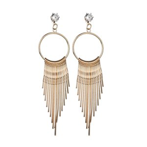 Vintage Classic Metal Earrings Gift for Women Girl Round Geometric Long Tassel Stud Earrings Gold Silver Color Creative Jewelry