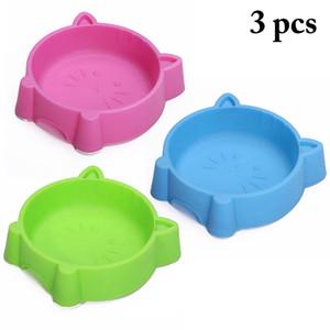 3 Cores Bonito Pet Bowl Criativo Plástico Portátil Rosto Cat Multiuso Cat Dog Bowl Verde Azul Rosa Casa Suprimentos de Alimentação para animais de Estimação