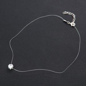 Мода-невидимая прозрачная линия рыбы Циркон ожерелье женщины ключицы цепи кулон ожерелье для женщин аксессуары