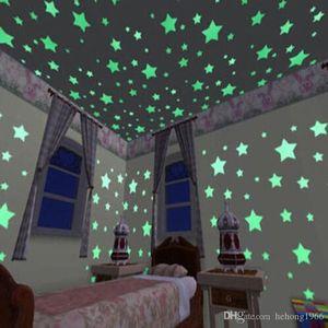 3CM Luminous Stars Wall Stickers 100pcs Bedroom Sofa Fluorescent Plastic Decorative Painting Lasting Shining PVC Sticker 2 6zh R