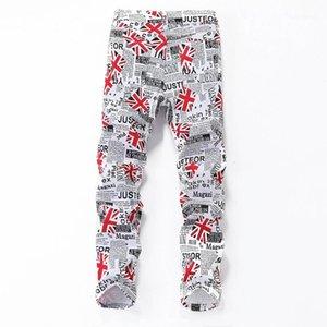 Pantalons simple Skinny taille Mid Hommes American Apparel Drapeau Mens Designer Jeans lettres imprimées Zipper Mens