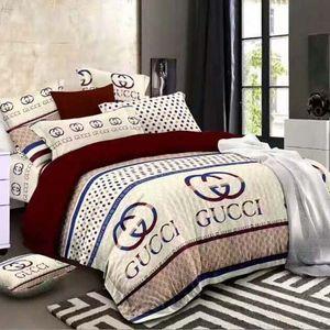 2020 elegante juego de cama minimalista de cuatro aloe vera algodón fibra química carta cómoda impresión lecho cuatro