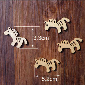 50pcs Horse Shape Wooden Bookmark Handmade Gift Tags DIY Creative Price Label Wood Hang Tags with Hemp Rope 5.2x3.3cm
