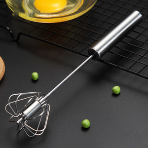 Semi-automatic Egg Beater 304 Stainless Steel Egg Whisk Manual Hand Mixer Self Turning Egg Stirrer Kitchen Tools