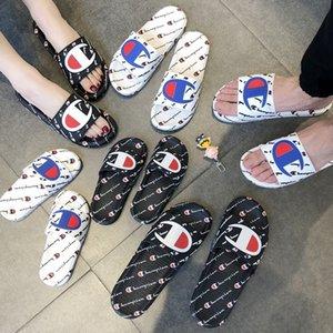 El resbalón de las mujeres de los hombres Carta sandalia unisex del verano deslizadores de los fracasos de tirón plataforma de la cuña sandalias de playa de agua de lluvia mulas Zapatos